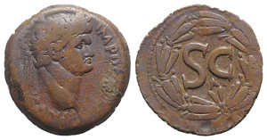 obverse: Domitian (81-96). Seleucis and Pieria, Antioch. Æ (30mm, 12.31g, 12h). Laureate head r. R/ S C within laurel wreath. McAlee 406d; RPC II 2021. Brown patina, VF