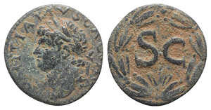 obverse: Domitian (81-96). Seleucis and Pieria, Antioch. Æ (20mm, 5.39g, 12h). Laureate head l. R/ Large SC within wreath. McAlee 411c; RPC II 2024. Green patina, about VF