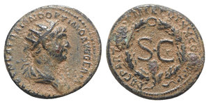 obverse: Trajan (98-117). Æ Semis (19mm, 4.57g, 6h). Rome mint, for circulation in Syria, AD 116. Radiate and draped bust r. R/ Large S•C within oak wreath. RIC II 650; McAlee 520. Brown patina, VF