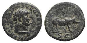 obverse: Trajan (98-117). Æ Quadrans (14mm, 2.83g, 6h). Rome, c. 100-110. Laureate bust of Hercules r., with lion's skin. R/ Boar walking r. RIC II 702. Green patina, near VF