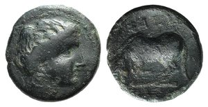 obverse: Thessaly, Larissa, c. 400-350 BC. Æ Dichalkon (16mm, 3.33g, 6h). Head of Nymph Larissa r. R/ Horse crouching l., about to roll. BCD Thessaly II 277; Rogers 294, fig. 143. Near VF