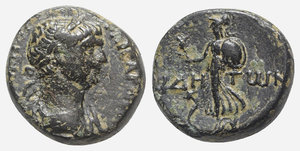 obverse: Trajan (98-117). Pamphylia, Side. Æ (16mm, 6.15g, 11h). Laureate and draped bust r. R/ Athena advancing l., holding pomegranate and shield; serpent at feet. RPC III 2726; SNG Pfälzer 640-1. Green patina, VF
