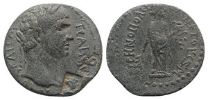 obverse: Trajan (98-117). Cilicia, Irenopolis-Neronias.  Æ Assarion (22mm, 5.17g, 12h), year 47 (AD 98/9). Laureate head r.; 2 c/ms: draped bust of Hygeia and Nike standing r., both within rectangular incuse. R/ Hygeia standing r., holding branch and a patera from which she feeds a serpent; grape bunch on vine to r. SNG BnF 2253; SNG Levante 1605; for c/m: Howgego 195 and 261. Green patina, VF