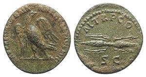 obverse: Hadrian (117-138). Æ Semis (17.5mm, 2.87g, 6h). Rome, 121-2. Eagle standing l., head r. R/ Thunderbolt, SC below. RIC II 624. Green patina, VF