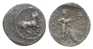 obverse: Thessaly, Pharkadon, late 5th-early 4th centuries BC. AR Obol (11mm, 0.60g, 3h). Horse prancing r. R/ Athena standing r., holding spear and shield; all within incuse square. BCD Thessaly II 606; HGC 4, 297. Toned, VF