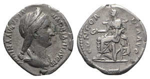 obverse: Sabina (Augusta, 128-136/7). AR Denarius (18mm, 3.27g, 6h). Rome, c. 128-134. Draped bust r., wearing stephane. R/ Concordia seated l., holding patera and resting arm on statuette of Spes set on low base; cornucopia below throne. RIC II 398 (Hadrian); RSC 12. VF