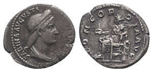 obverse: Sabina (Augusta, 128-136/7). AR Denarius (18mm, 2.96g, 6h). Rome, c. 128-134. Draped bust r., wearing stephane. R/ Concordia seated l., holding patera and resting arm on statuette of Spes set on low base; cornucopia below throne. RIC II 398 (Hadrian); RSC 12. Minor roughness, VF