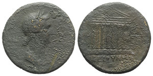 obverse: Sabina (Augusta, 128-136/7). Koinon of Bithynia. Æ (34mm, 22.98g, 6h). Diademed and draped bust r. R/ Octastyle temple; Genius in pediment, prow below. RPC III 1023. Fine