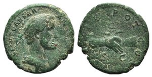 obverse: Antoninus Pius (Caesar, 138). Æ As (27mm, 9.82g, 12h). Rome, AD 138. Bareheaded and draped bust r. R/ Clasped r. hands holding caduceus and grain ears. RIC II 1088a (Hadrian). Green patina, Good Fine