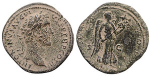 obverse: Antoninus Pius (138-161). Æ Sestertius (34mm, 27.56g, 6h). Rome, c. 141-3. Laureate head r. R/ Victory flying r., holding transverse trophy with both hands. RIC III 717a. Earthy brown patina, near VF