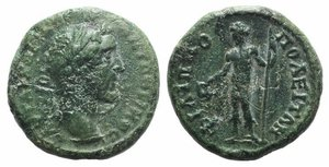 obverse: Antoninus Pius (138-161). Thrace, Philippopolis. Æ (17mm, 4.68g, 1h). Laureate head r. R/ Dionysus standing l., holding cantharus and thyrsus. Varbanov 756. Green patina, VF