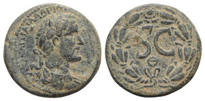 obverse: Antoninus Pius (138-161). Seleucis and Pieria, Antioch. Æ (27mm, 14.40g, 12h), c. 138-9. Laureate, draped and cuirassed r. R/ Large SC; Θ below; all within wreath. RPC IV online 7000 (temporary); McAlee 5565i. Green patina, VF