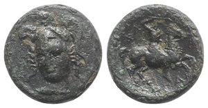 obverse: Thessaly, Pharsalos, 4th-3rd centuries BC. Æ Trichalkon (21mm, 9.05g, 11h). Helmeted head of Athena facing slightly l. R/ Thessalian cavalryman, holding flail, on horse rearing r. BCD Thessaly II 671.2; Rogers 492. Fine