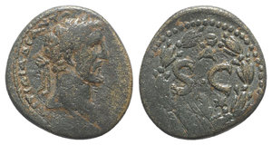 obverse: Antoninus Pius (138-161). Seleucis and Pieria, Antioch. Æ Semis (18mm, 3.47g, 12h). Laureate head r. R/ S • C, A above, eagle below; all within laurel wreath. RPC IV online 7007 (temporary). Brown patina, Good Fine