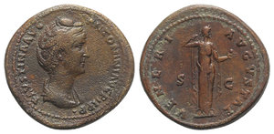 obverse: Faustina Senior (Augusta, 138-140/1). Æ As (29.5mm, 15.51g, 6h). Rome, c. 138-141. Draped bust r. R/ Venus standing r., drawing drapery and holding apple. RIC III 1097 (Pius). Brown-reddish patina, near VF