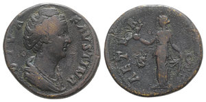 obverse: Diva Faustina Senior (died AD 140/1). Æ Sestertius (31.5mm, 21.36g, 11h). Rome, c. 146-161. Draped bust r. R/ Aeternitas standing l., holding globe surmounted by phoenix in r. hand, lifting hem of dress with l. RIC III 1105 (Pius). Good Fine