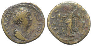 obverse: Diva Faustina Senior (died AD 140/1). Æ Sestertius (32mm, 25.42g, 6h). Rome, c. 146-161. Draped bust r. R/ Aeternitas standing l., holding globe and billowing veil. RIC III 1106 (Pius). Brown patina, Good Fine