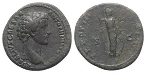 obverse: Marcus Aurelius (Caesar, 139-161). Æ As (27mm, 11.53g, 6h). Rome, 148-9. Bare head r. R/ Minerva standing r., holding spear and resting on shield. RIC III 1284b. Good Fine