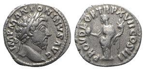 obverse: Marcus Aurelius (161-180). AR Denarius (17mm, 3.32g, 6h). Rome, AD 163. Laureate head r. R/ Providentia standing l., holding globe and cornucopia. RIC III 73; RSC 525. Good VF