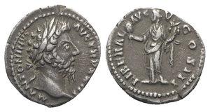 obverse: Marcus Aurelius (161-180). AR Denarius (18mm, 3.35g, 7h). Rome, 168-9. Laureate head r. R/ Liberalitas standing l., holding abacus and cornucopiae. RIC III 206; RSC 412. Toned, VF - Good VF
