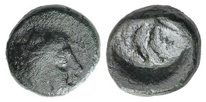 obverse: Thessaly, Skotussa, c. 400-380 BC. Æ Chalkous (11mm, 2.93g, 12h). Head of Herakles, wearing lion skin. R/ Forepart of horse grazing l. BCD Thessaly 737.1. Good Fine