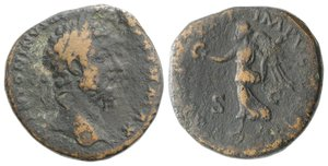 obverse: Marcus Aurelius (161-180). Æ Sestertius (31mm, 23.48g, 1h). Rome, AD 168. Laureate head r. R/ Victory standing l., holding palm frond and wreath. RIC III 959. Brown patina, Good Fine