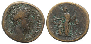 obverse: Marcus Aurelius (161-180). Æ Sestertius (31mm, 24.94g, 6h). Rome, 169-170. Laureate bust r., seen from behind. R/ Salus standing l., feeding serpent entwined about altar from patera and holding sceptre. RIC III 979. Brown patina, Good Fine