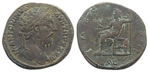 obverse: Marcus Aurelius (161-180). Æ Sestertius (32mm, 26.72g, 6h). Rome, AD 174. Laureate head r. R/ Jupiter seated l., holding Victory and sceptre. RIC III 1096. Good Fine