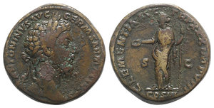 obverse: Marcus Aurelius (161-180). Æ Sestertius (31mm, 26.70g, 6h). Rome, 175-6. Laureate head r. R/ Clementia standing l., holding patera and sceptre. RIC III 1158. Brown patina, near VF