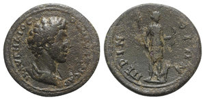 obverse: Marcus Aurelius (Caesar, 139-161). Thrace, Perinthus. Æ (27.5mm, 8.79g, 6h). Bareheaded, draped and cuirassed bust r. R/ Artemis standing r., holding torch and bow; stag at side. Varbanov 127. Good Fine