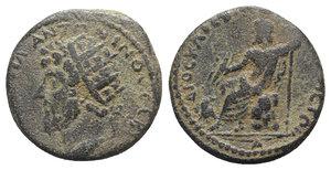 obverse: Marcus Aurelius (161-180). Cyrrhestica, Cyrrhus. Æ (23mm, 10.35g, 11h). Radiate head l. R/ Zeus Kataibates seated l. on rock, holding thunderbolt over eagle and long sceptre. RPC IV online 3602 (temporary). Rare, green patina, near VF