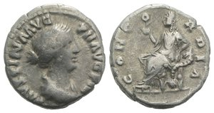 obverse: Faustina Junior (Augusta, 147-175). AR Denarius (16mm, 2.84g, 6h). Rome, 152-3. Draped bust r. R/ Concordia seated l., holding flower and resting l. elbow on cornucopia; globe below throne. RIC III 502a (Pius); RSC 54. Near VF