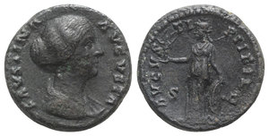 obverse: Faustina Junior (Augusta, 147-175). Æ As (25.5mm, 12.08g, 12h). Rome. Draped bust r. R/ Venus standing left holding victory and leaning on shield set on a helmet. RIC III 1389a (Pius). VF