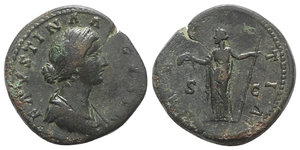 obverse: Faustina Junior (Augusta, 147-175). Æ Sestertius (33mm, 24.91g, 12h). Rome, 161-4. Draped bust r., wearing two strings of pearls in hair. R/ Laetitia standing l., holding wreath and sceptre. RIC III 1654 (Aurelius). Green patina, Good Fine