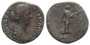 obverse: Diva Faustina Junior (died 175/6). Æ Sestertius (31mm, 23.52g, 12h). Rome, 175/6. Draped bust r. R/ Diva Faustina, as Diana, standing front, head r., holding torch; crescent behind neck. RIC III 1715 (Aurelius). Brown tone, Good Fine