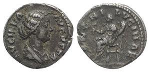 obverse: Lucilla (Augusta, 164-182). AR Denarius (17mm, 3.58g, 12h). Rome, c. AD 164. Draped bust r. R/ Juno seated l. on throne, holding flower and infant. RIC III 770 (Aurelius); RSC 36. Cabinet tone, VF