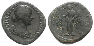 obverse: Lucilla (Augusta, 164-182). Æ Sestertius (32mm, 28.47g, 12h). Rome, 164-7. Draped bust r. R/ Hilaritas standing l., holding long palm frond and cornucopia. RIC III 1742 (Aurelius). Good Fine