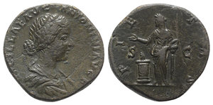 obverse: Lucilla (Augusta, 164-182). Æ Sestertius (30mm, 22.52g, 12h). Rome, 161-2. Draped bust r. R/ Pietas standing l., holding accerum and sacrificing over lighted and garlanded altar to l. RIC III 1756 (Aurelius). Scratches, VF
