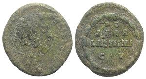 obverse: Commodus (177-192). Æ As (24mm, 8.60g, 6). Rome, 186-9. Laureate head r. R/ P D / SPQR / LAETITIAE / C V, legend in four lines in laurel wreath. RIC III 554. Rare, green patina, Good Fine