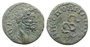 obverse: Septimius Severus (193-211). Moesia Inferior, Nicopolis ad Istrum. Æ (14mm, 2.38g, 1h). Laureate head r. R/ Serpent. Varbanov 2427. Green patina, Good VF