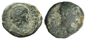 obverse: Septimius Severus and Julia Domna (193-211). Cilicia, Hieropolis-Castabala(?). Æ (24mm, 12.27g, 6h). Laureate head of Septimius r. R/ Draped bust of Julia Domna r. Cf. SNG Levante 1590. Green patina, Fine