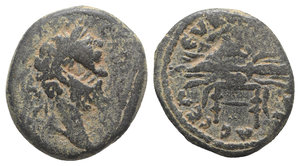 obverse: Septimius Severus (193-211). Seleucis and Pieria, Seleucia. Æ (22mm, 9.39g, 1h). Laureate head r.; c/m: uncertain letters within rectangular incuse. R/ Filleted thunderbolt resting on cushion placed on stool. BMC 49. Green patina, Good Fine / VF