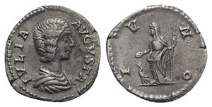 obverse: Julia Domna (Augusta, 193-217). AR Denarius (18mm, 3.43g, 6h). Rome, 200-211. Draped bust r. R/ Juno standing l., holding patera and sceptre; peacock at feet to l. RIC IV 559 (Severus); RSC 83a. Toned, Good VF