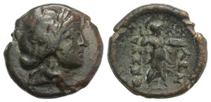 obverse: Thessaly, Thessalian League, c. 196-27 BC. Æ (20mm, 6.85g, 12h). Philok… and Asor…, magistrates. Laureate head of Apollo r. R/ Athena Itonia advancing r., holding shield and wielding spear. BCD Thessaly 901.1; Rogers 31. Brown patina, VF