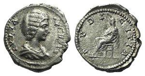 obverse: Julia Domna (Augusta, 193-217). AR Denarius (19mm, 3.36g, 6h). Laodicea, 198-202. Draped bust r. R/ Pudicitia seated l., with hand raised to breast. RIC IV 644 (Severus); RSC 168a. VF