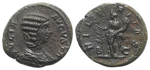 obverse: Julia Domna (Augusta, 193-217). Æ As (27mm, 10.35g, 6h). Rome, c. 198-200. Draped bust r. R/ Hilaritas standing l., holding long palm frond and cornucopia. RIC IV 877 (Severus). Brown tone, near VF