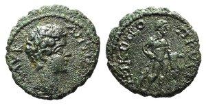 obverse: Caracalla (198-217). Moesia Inferior, Nicopolis ad Istrum. Æ (15mm, 2.45g, 1h). Bare head r. R/ Herakles standing r., holding club and lion skin. Varbanov 2914. Green patina, VF