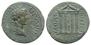 obverse: Caracalla (198-217). Pontus, Neocaesarea. Æ (30mm, 15.40g, 12h), c. 209-210. Laureate, draped and cuirassed bust r. R/ Tetrastyle temple, enclosing statue on column; globe in pediment. RG 22. Green patina, near VF