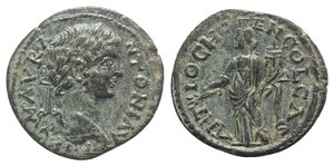 obverse: Caracalla (198-217). Pisidia, Antioch. Æ (24mm, 5.96g, 6h). Laureate head r. R/ Genius standing l., holding branch and cornucopia. SNG BnF 1180-3 (Elagabalus). Green patina, VF