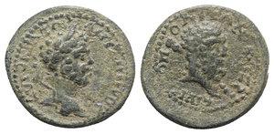 obverse: Caracalla ? (198-217). Cilicia, Irenopolis. Æ (23mm, 7.04g, 6h). Laureate head r. R/ Beardead head of Herakles r.; club over shoulder. SNG BnF -; SNG Levante -; cf. SNG von Aulock 5592. Very Rare, green patina, VF